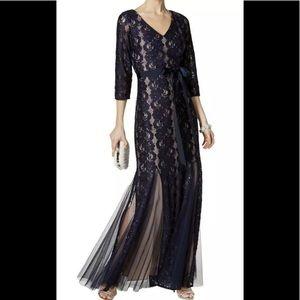 Formal Dress Size 16 Mermaid Style Navy w/ Sleeves